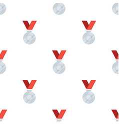 silver medal on a red ribbonthe award for second vector image