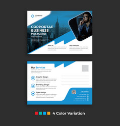 Simple corporate business postcard template design vector