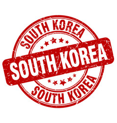 South korea red grunge round vintage rubber stamp vector