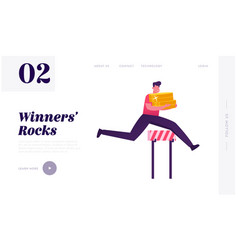 successful business man running competition vector image