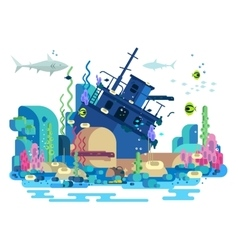 Sunken ship under water vector image
