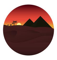 sunset in desert i vector image