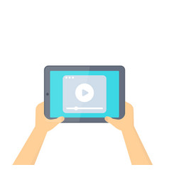 Tablet in hands with video player isolated vector