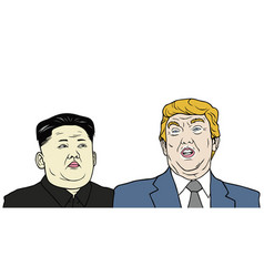 trump vs jong-un flat design vector image