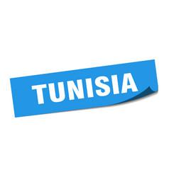 Tunisia sticker tunisia blue square peeler sign vector