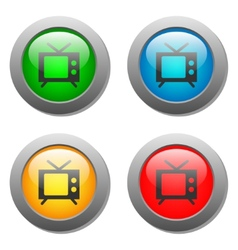 TV icon set on glass buttons vector image