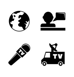 tv news simple related icons vector image