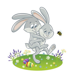 Two easter bunny friends go for a walk vector