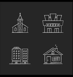 Urban buildings chalk white icons set on black vector