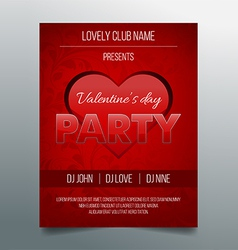 Valentines day party flyer template - red design vector