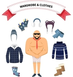Wardrobe and Clothes vector image