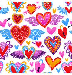 watercolor heart seamless pattern for love concept vector image