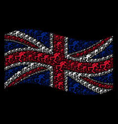 Waving united kingdom flag pattern of scuba diver vector