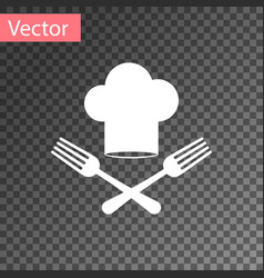 White chef hat and crossed fork icon isolated on vector