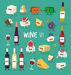 wine and cheese set vector image