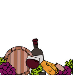 Wine bottle cup barrel cheese crokscrew grapes vector