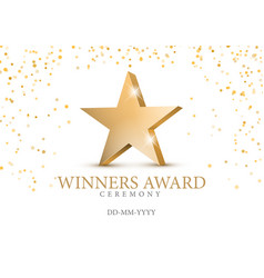 winner award gold star 3d symbol vector image