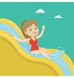 Woman riding down waterslide vector image