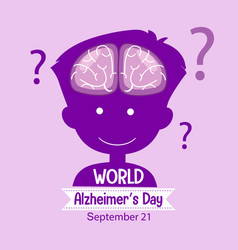 World alzheimers day logo or banner with brain vector