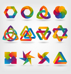 abstract symbol set in rainbow colors vector image