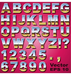 Chrome Letters and Numbers vector image vector image