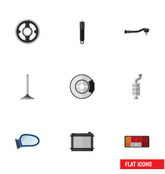 Flat icon auto set of headlight metal car vector