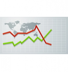 graph on world map vector image
