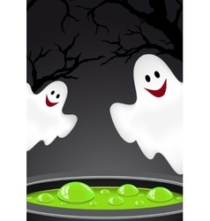 Halloween background with ghosts vector image