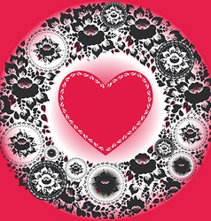 Pink hearts and black flowers Greeting card vector image vector image
