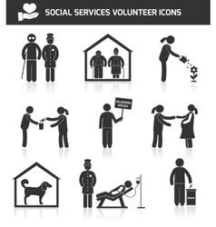 Social services icons set black vector image vector image