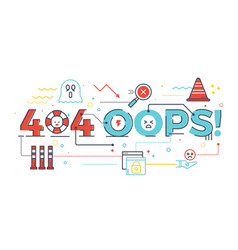 404 oops word for internet website page not found vector image vector image