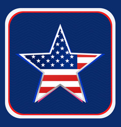 american flag inside star background vector image vector image
