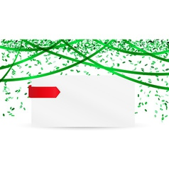 falling green confetti and blank paper vector image vector image