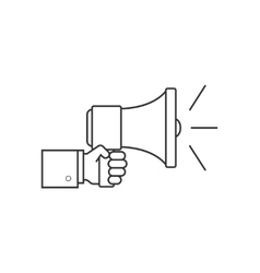 Hand with speaker line icon vector image