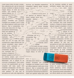 Newspaper page with eraser of erasing news vector image vector image