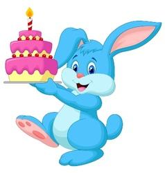 Rabbit cartoon with birthday cake vector image vector image