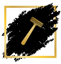 safety razor sign golden icon at black vector image vector image