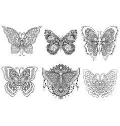six butterflies vector image