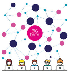 big data people with computer vector image vector image