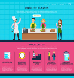colorful cooking classes web page template vector image vector image