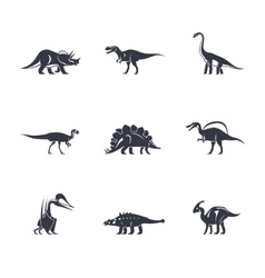 Dinosaurs silhouettes icons vector image