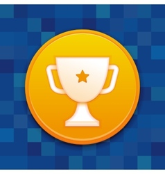 gamification badge with white cup vector image