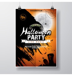 Halloween party flyer design with bats and moon vector