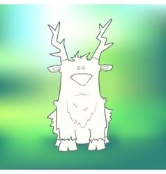 Hand-drawn sitting sad deer on vector image