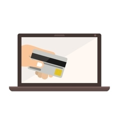 laptop with display with credit card in hand vector image