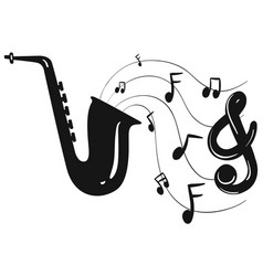 silhouette design for saxophone and notes vector image vector image