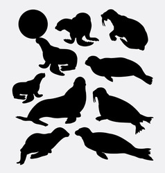 Walrus and seals silhouette vector