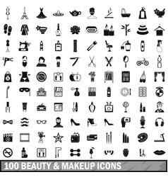 100 beauty and makeup icons set in simple style vector image