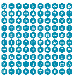 100 winter holidays icons sapphirine violet vector image vector image