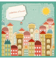 houses on vintage background vector image vector image